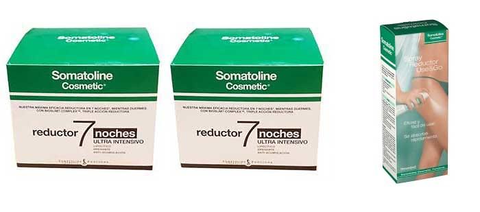 -Duplo 2 X Somatoline Reductor 7 Noches ultra intensivo 450 Ml (Edición 2018) + Regalo Use & Go Spray Reductor 125 ml