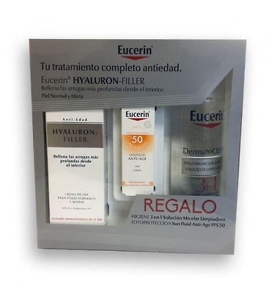 Eucerin Hyaluron Filler Crema Dia Piel Normal y Mixta 50 ml + regalo solución micelar 200ml + sun fluid fps50, 5ml