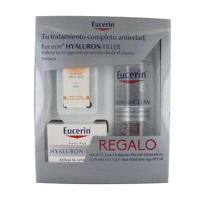 Eucerin Hyaluron Filler Crema día Pieles Secas 50ML + regalo solución micelar 200ml + sun fluid FPS50, 5ml