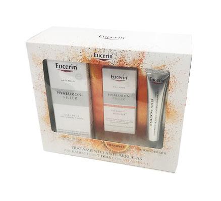 -Eucerin Hyaluron filler día piel normal-mixta 50ml + vitamina C booster serum 8ml + Regalo Contorno 15 ml