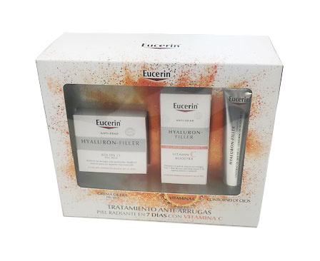 -Eucerin Hyaluron filler día piel seca 50ml + vitamina C booster serum 8ml + Regalo Contorno 15 ml