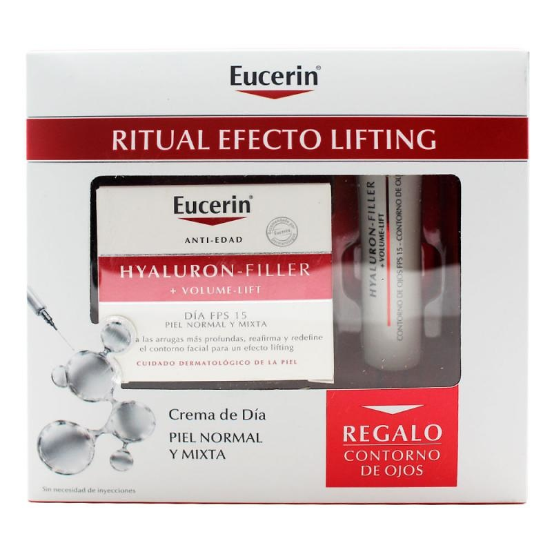 -Eucerin Volume Filler Día Piel Normal- Mixta 50ml + regalo contorno de ojos hyaluron filler 15ml