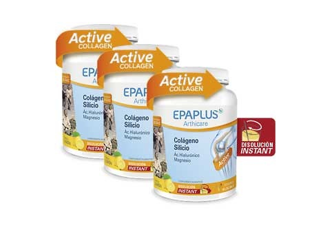 -Pack 3 unidades Epaplus Colágeno +Silicio + Hialurónico + Magnesio Sabor Limón 334 Gr (Nueva Fórmula)