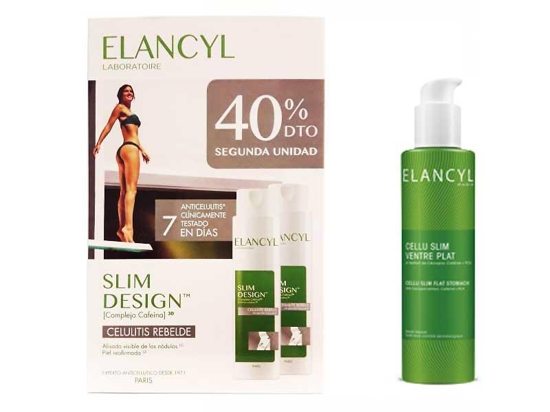 1- Elancyl Duplo Slim Design Celulitis Rebelde 2 X 200ml (Edicion 2018) + Regalo Celu Slim Vientre Plano 75ml