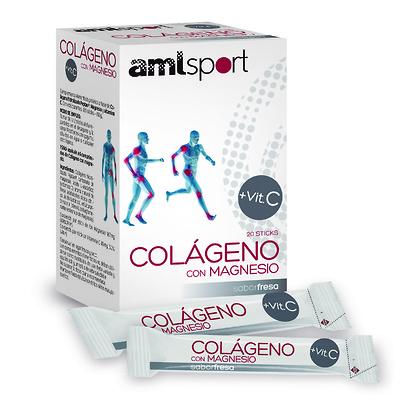 AMLsport colágeno con magnesio + vitamina C en 20 sticks sabor fresa