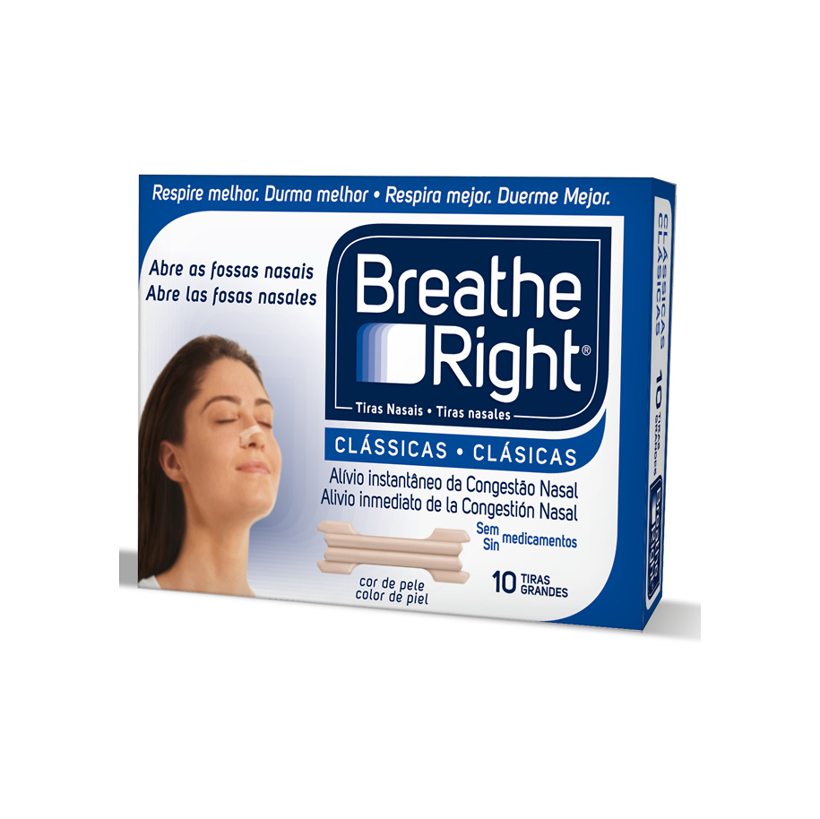 Breathe right tiras nasales clasicas 10 unidades tamaño grande