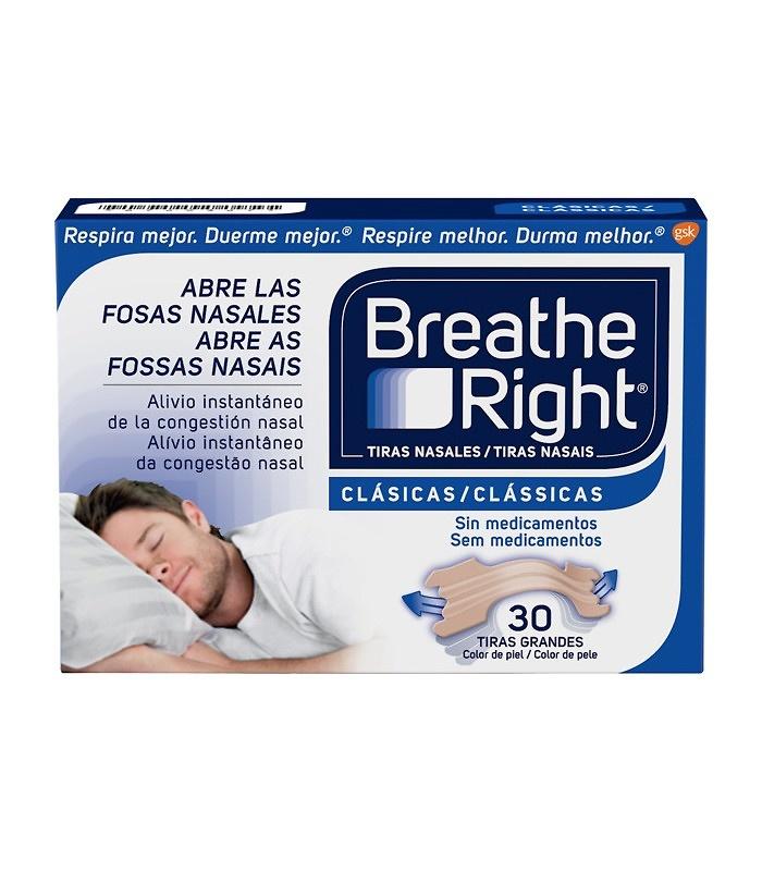 Breathe right tiras nasales clasicas 30 unidades tamaño grande
