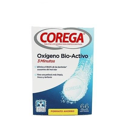 Corega tabletas limpiadoras oxígeno bio-activo 3 minutos 66 tabletas