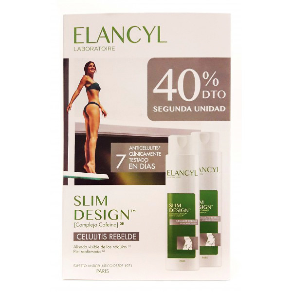 1- Elancyl Duplo Slim Design Celulitis Rebelde 2 X 200ml (Edicion 2019) + Regalo Celu Slim Vientre Plano 75ml