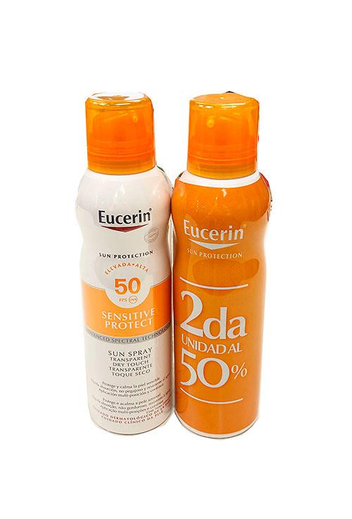 Eucerin pack sun protection spf50 spray transparente toque seco 200+200ml