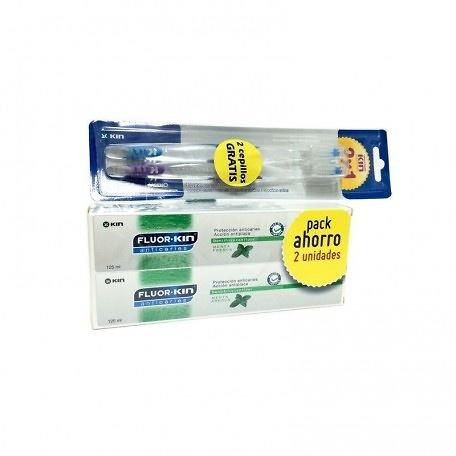 Pack Fluor Kin 2 X 125 ml + 2 Cepillos Medios