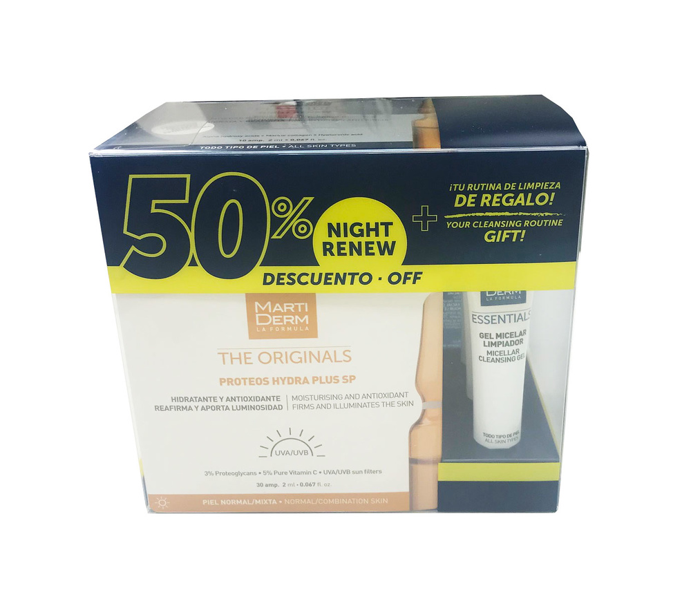 Martiderm Proteoglicanos FPS 30 ampollas + 10 ampollas night renew