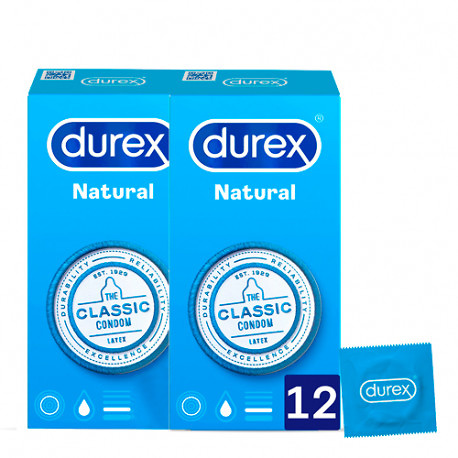 Preservativos Durex Natural Plus 12 Unidades Pack 2x1
