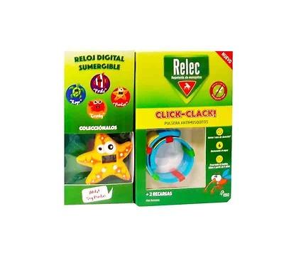 Relec Pulsera click-clack antimosquitos + regalo reloj estrella