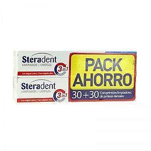 Steradent 3 en 1 comprimidos limpiadores DUPLO 30u + 30u