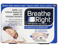 Breathe right  tiras nasales clasicas 10 unidades tamaño pequeño/mediano