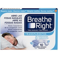 Breathe right  tiras nasales transparentes 10 unidades tamaño grande