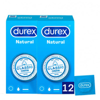 Preservativos Durex Natural Plus 12 Unidades Pack 2x1