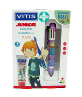 Vitis pack junior cepillo dental + gel dentífrico 75ml + REGALO boli 8 colores